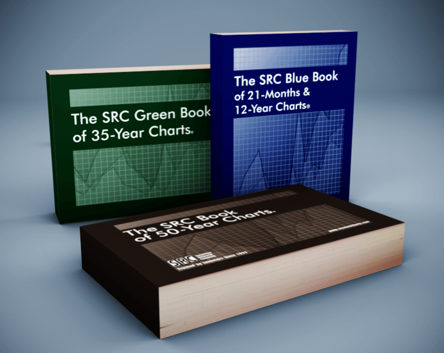 SRC's Chart Books. Featuring The SRC Book of 50-Year Charts; The SRC Green Book of 35-Year Charts; and The SRC Blue Book of 21-Months & 12-Year Charts.
